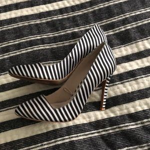 Black and white striped Forever 21 heels